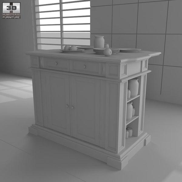 Black with Oak Top Kitchen Island 3d model