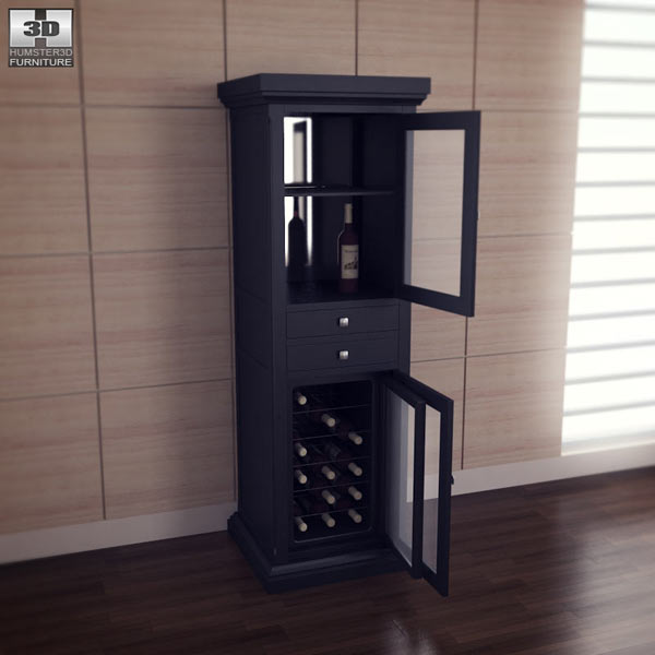 Meridian Wine Curio in Espresso 3D model