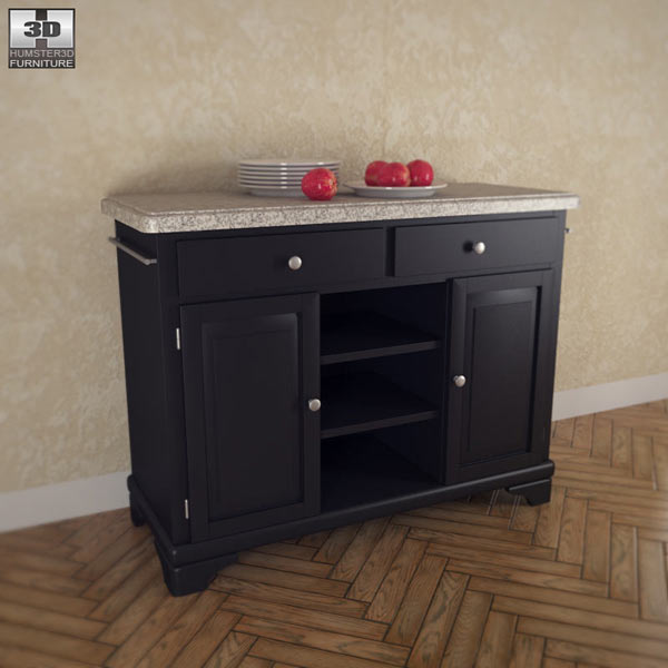 3D model of Kitchen Cart with Gray Granite Top