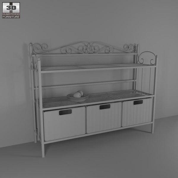 Celtic Three Drawer Storage Shelf 3d model