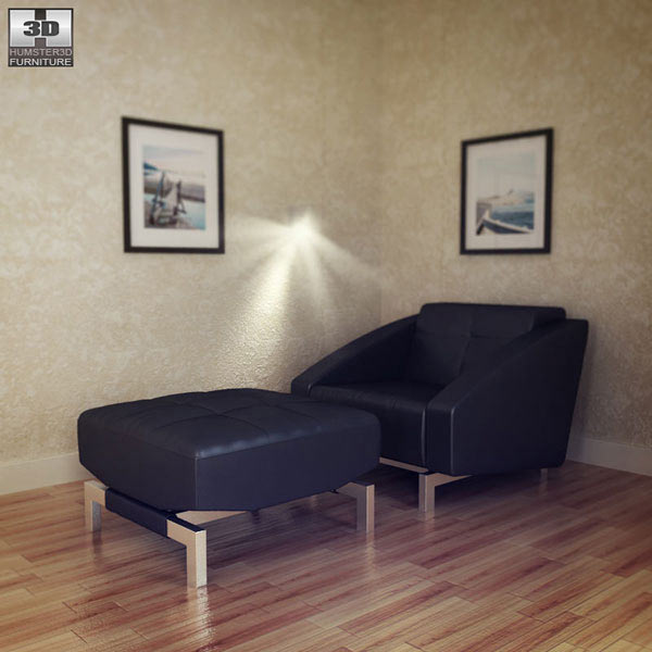 Convertible Chair with Ottoman 3D model