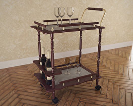 3D model of Serving Cart in Cherry