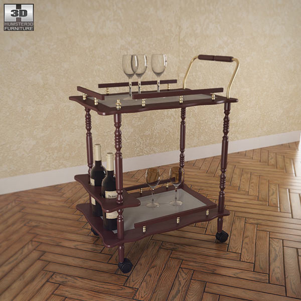 Serving Cart in Cherry 3D model