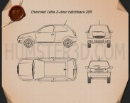 Chevrolet Celta 3-door hatchback 2011 Blueprint 3d model