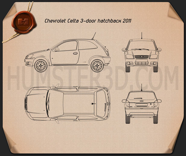 Chevrolet Celta 3-door hatchback 2011 Blueprint