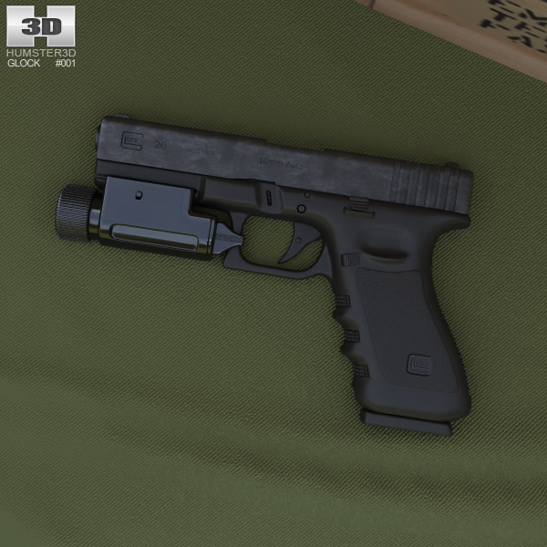 3D model of Glock 17 with Flashlight