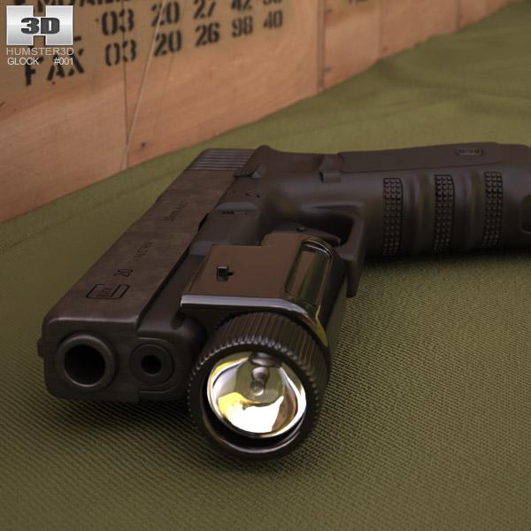 Glock 17 with Flashlight 3d model