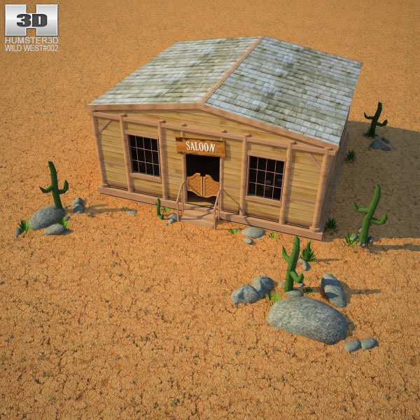 3D model of Wild West RailStation Saloon 02 Set