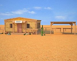 3D model of Wild West RailStation Sheriffs Office 03 Set