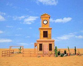 Wild West RailStation Tower 04 Set 3D model