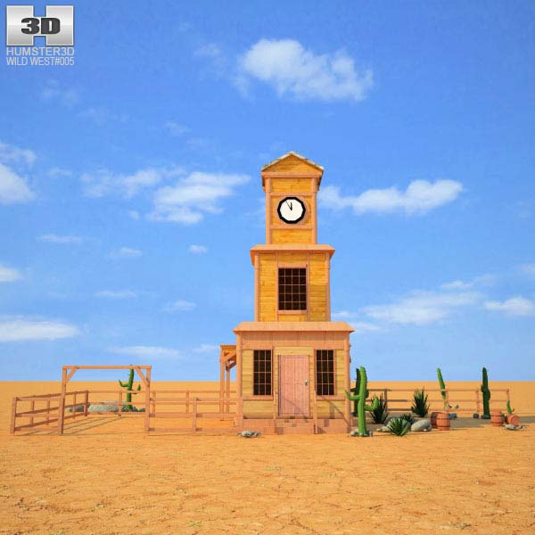 3D model of Wild West RailStation Tower 04 Set