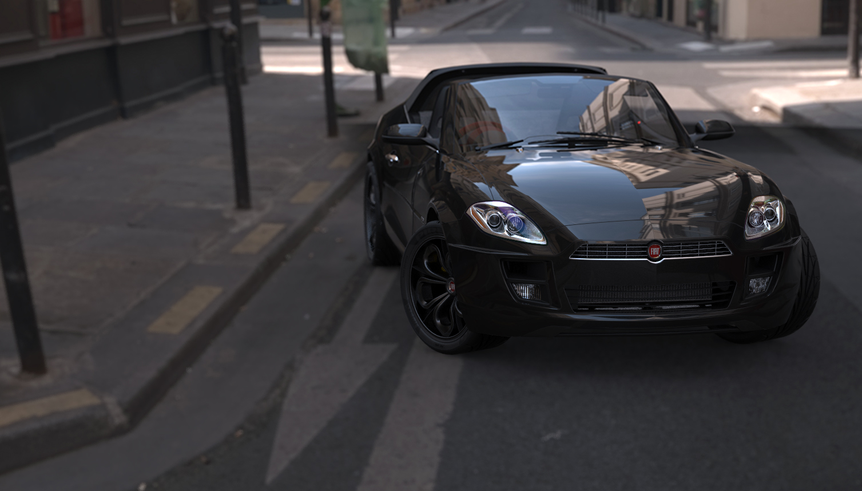 Black Fiat Barchetta 3d art
