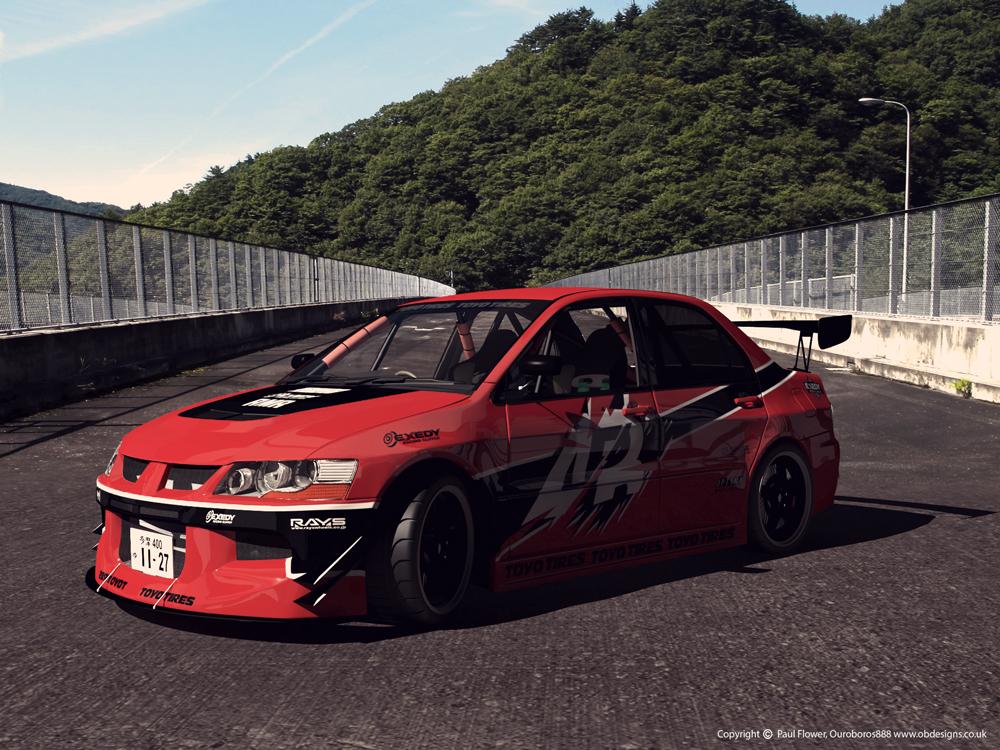 Mitsubishi Evo 3d art