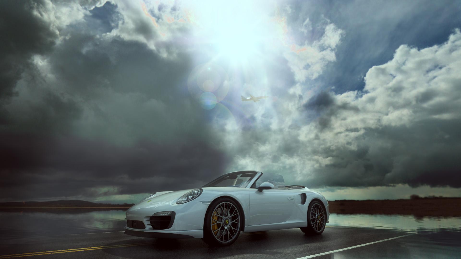 Porsche Turbo Cabriolet 2014 after rain scene 3d art