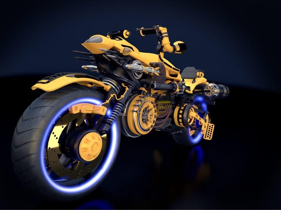 Robotic/Steampunk style Bike 3d art