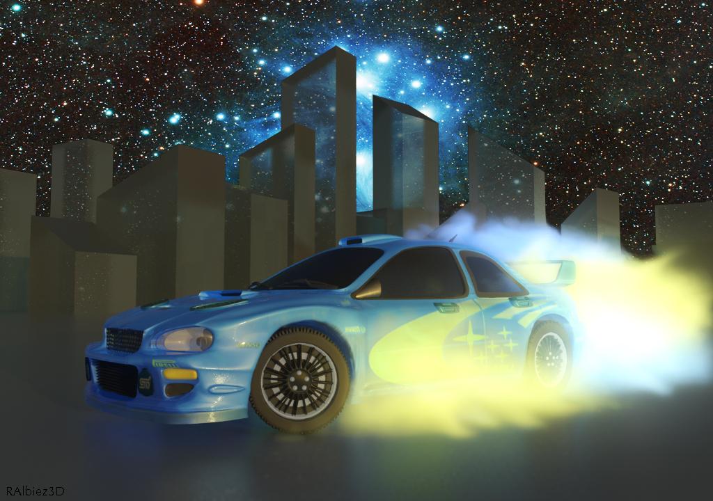 Subaru Impreza in space 3d art