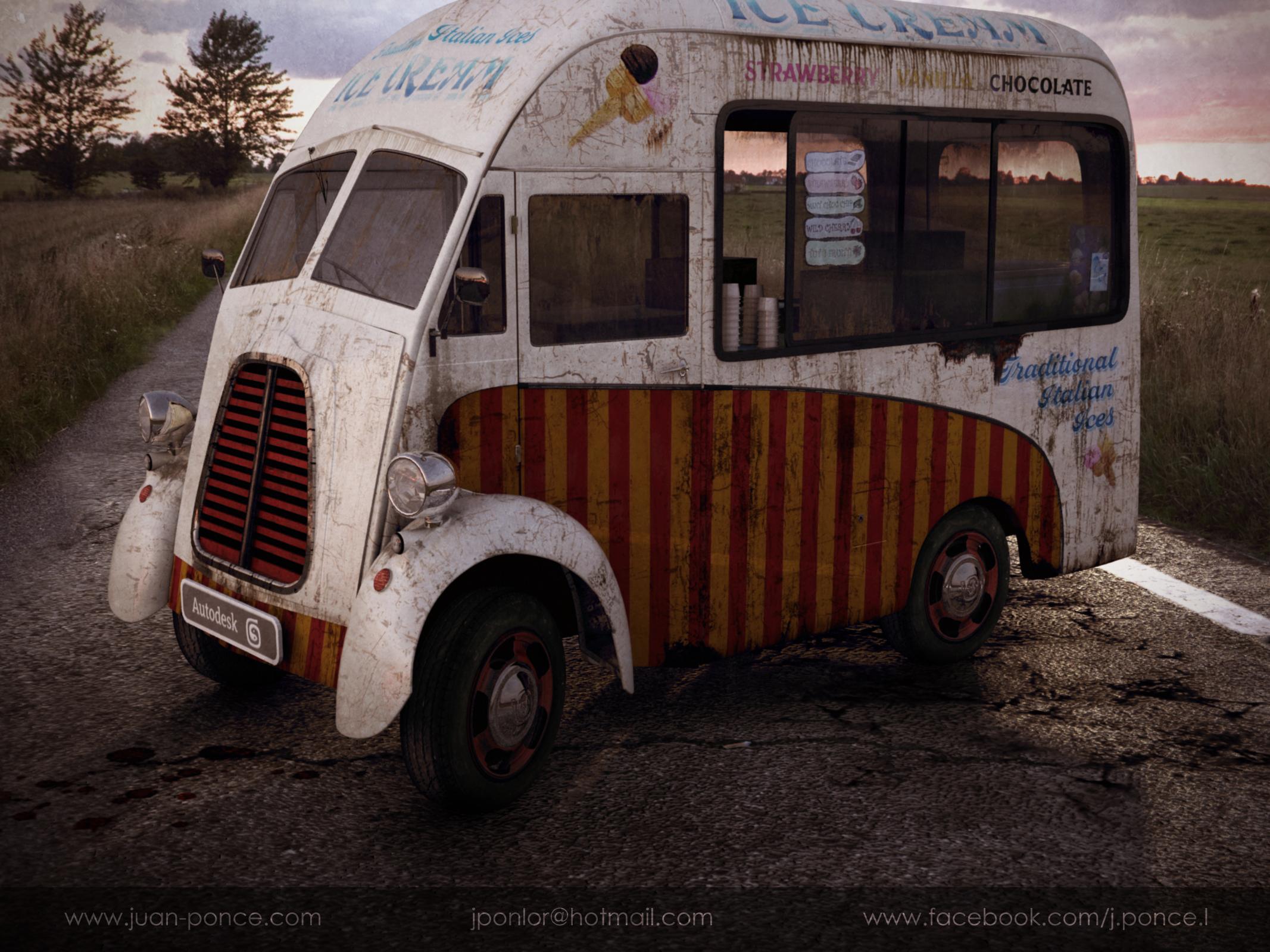 Vintage ice cream truck 3d art