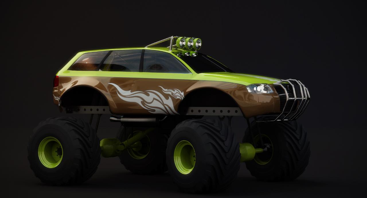 Big fat Audi Monstertruck 3d art