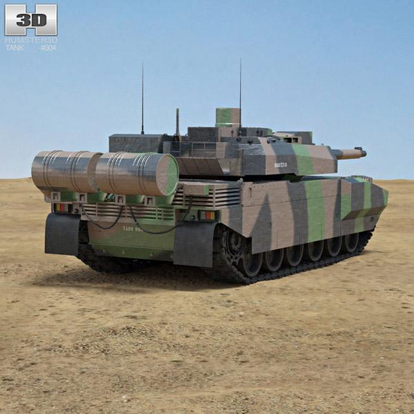 AMX-56 Leclerc 3d model back view