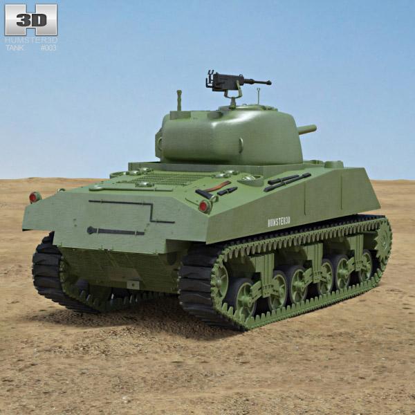 M4A2 Sherman 3d model back view