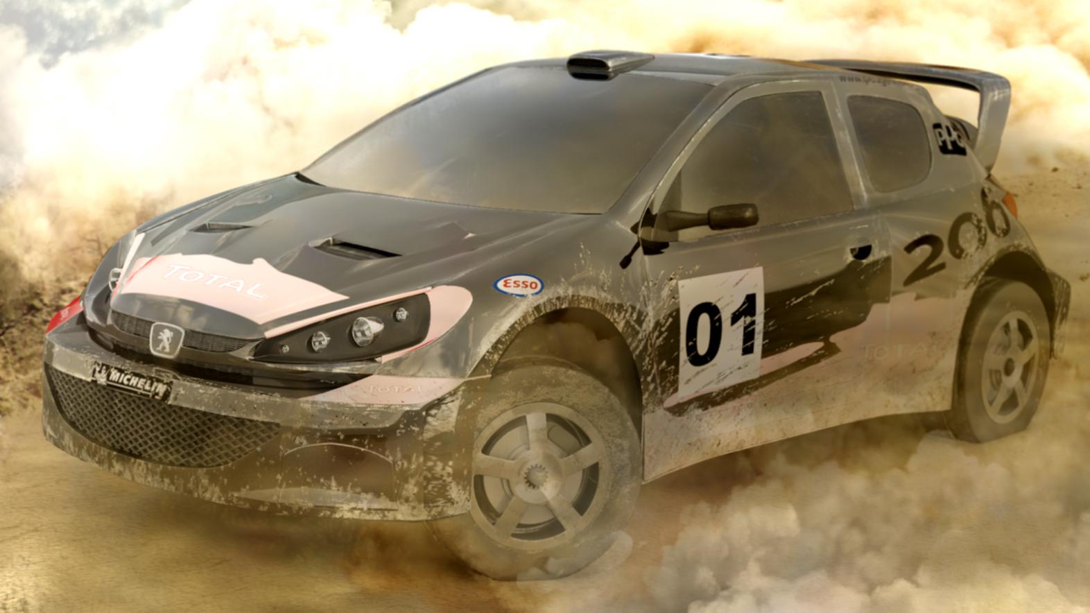 Rally Car Peugeot 206 3d art