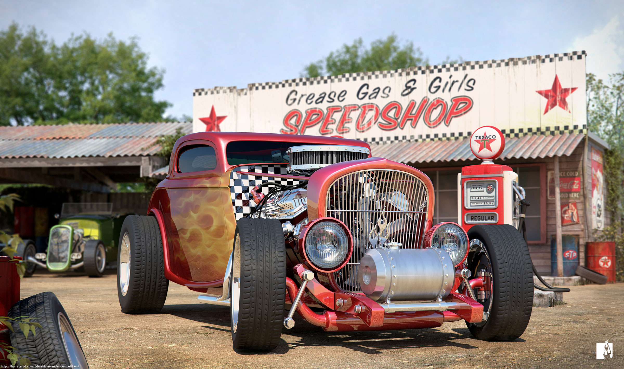 Hotrod Speedshop 3d art