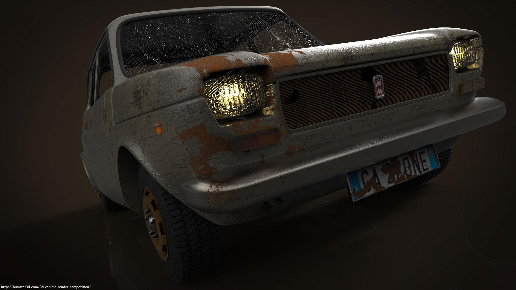 Old Fiat Car 3d art
