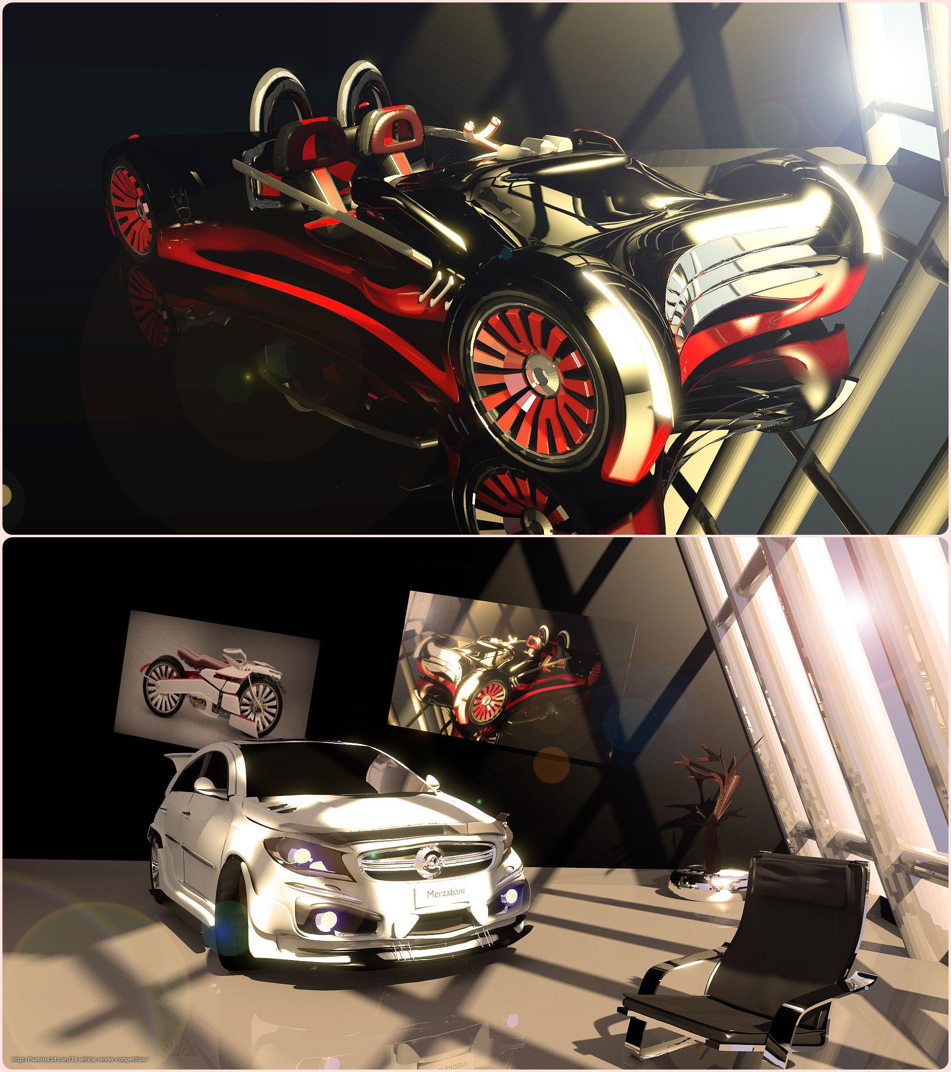 Car in room 3d art