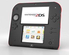 3D model of Nintendo 2DS Black + Red