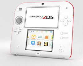 3D model of Nintendo 2DS White + Red