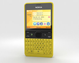 3D model of Nokia Asha 210 Yellow