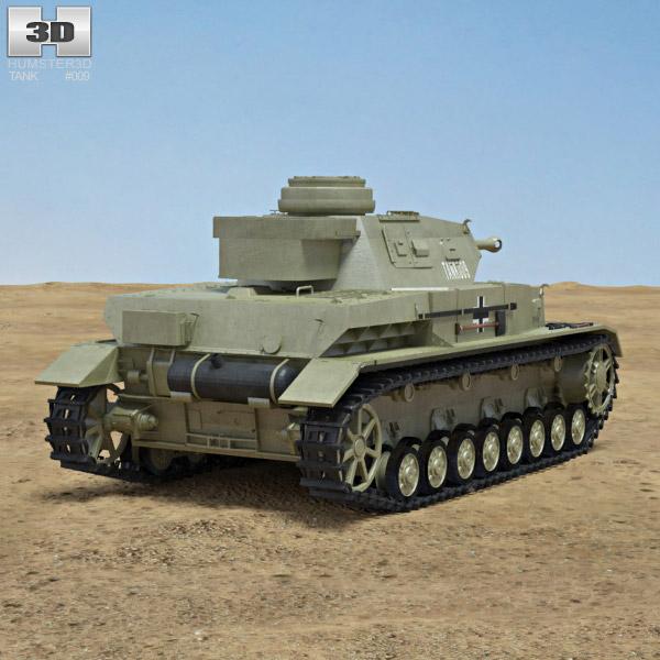 Panzer IV 3d model back view