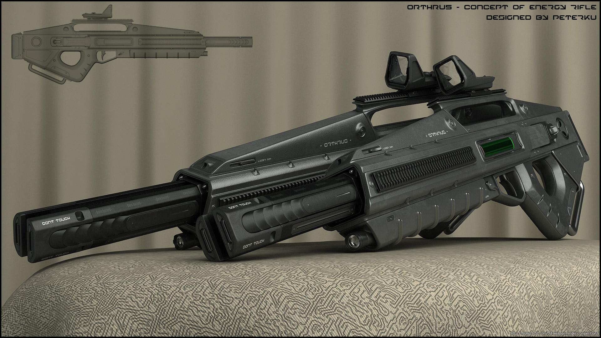 Orthrus - concept of energy rifle 3d art