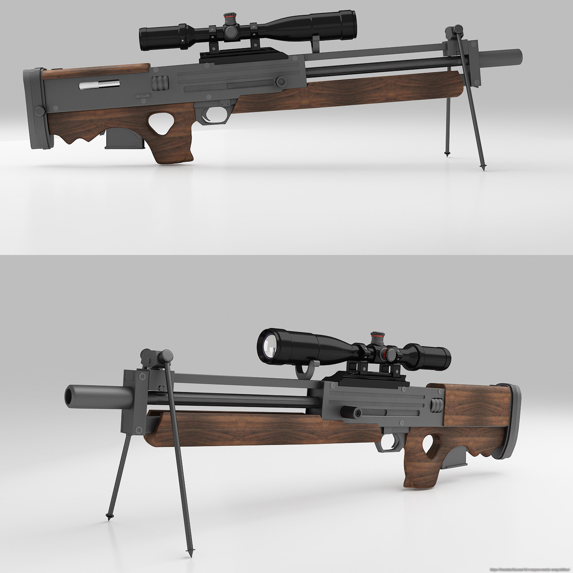 Walther WA 2000 sniper rifle 3d art