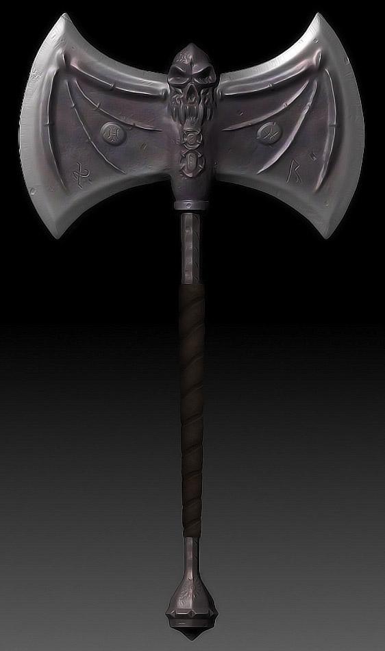 Skeletal Battle Axe 3d art