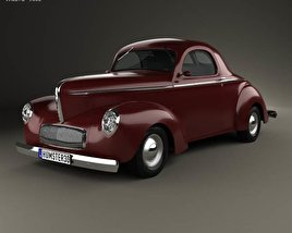 3D model of Willys Americar DeLuxe Coupe 1940