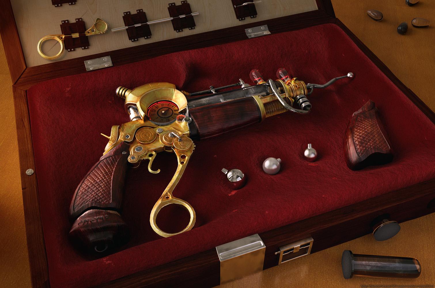 Steampunk gun 3d art