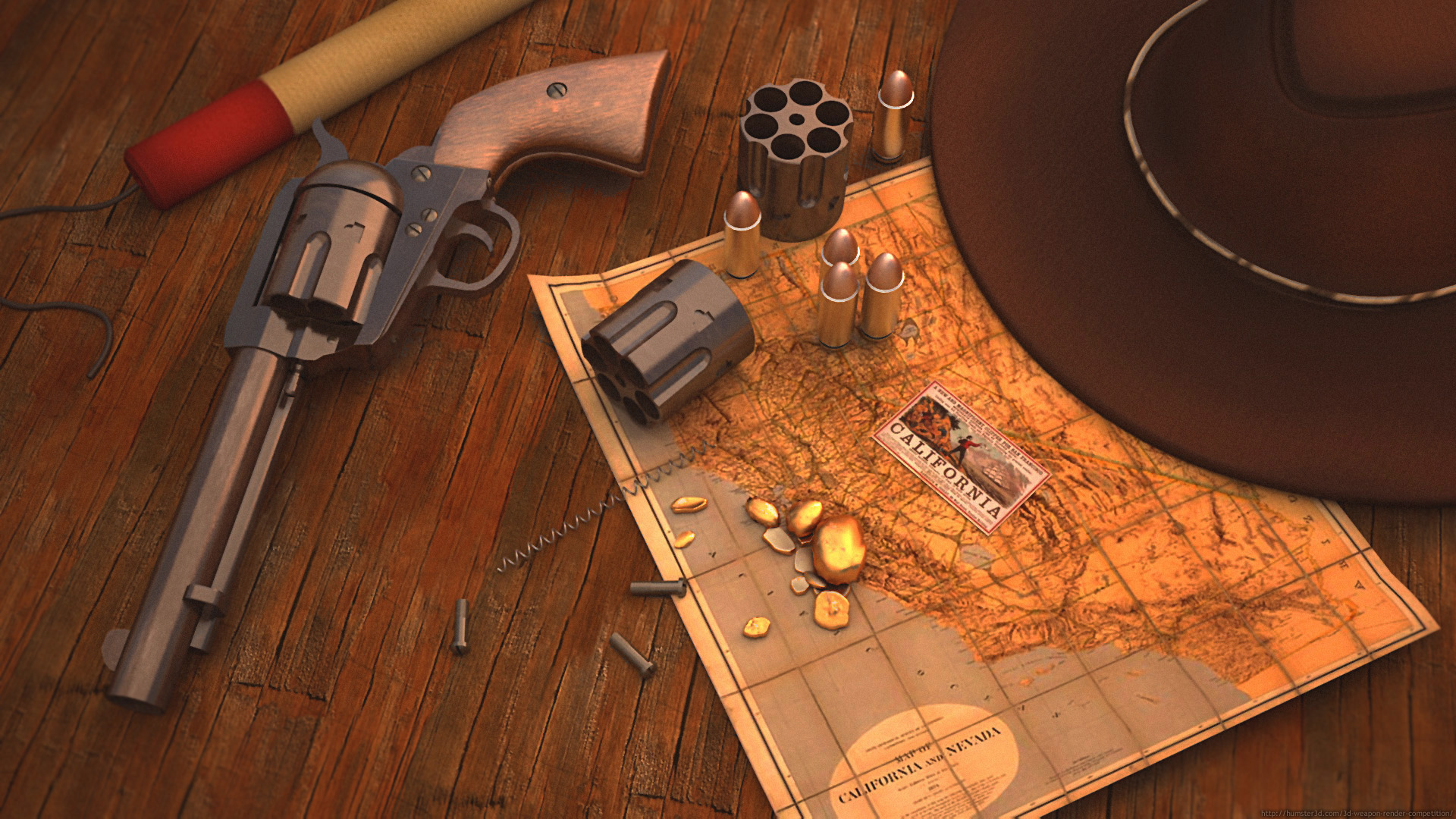 Gold fever with Colt Peacemaker 3d art