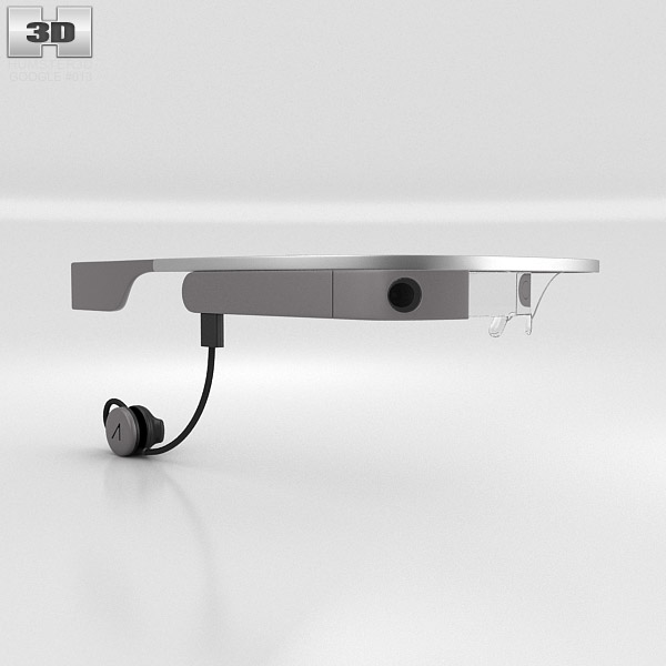 3D model of Google Glass with Mono Earbud Charcoal