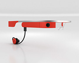 3D model of Google Glass with Mono Earbud Tangerine