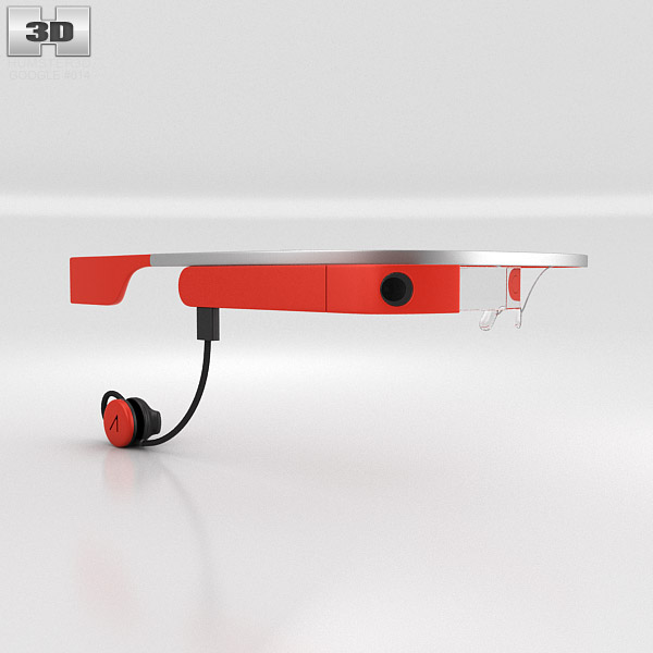 Google Glass with Mono Earbud Tangerine 3d model