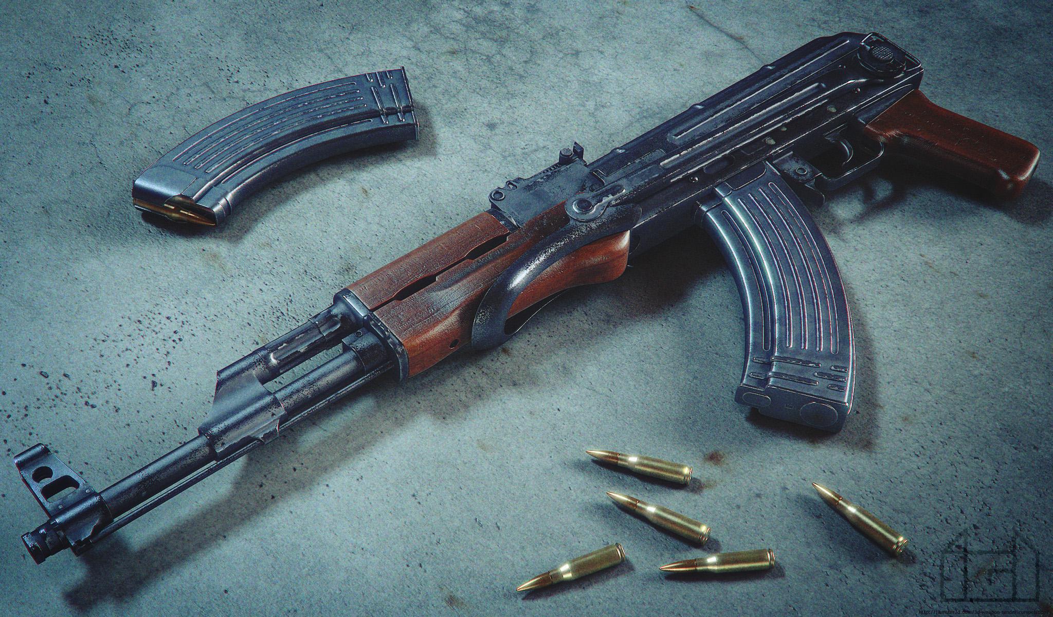Kalashnikov AKMS 3d art