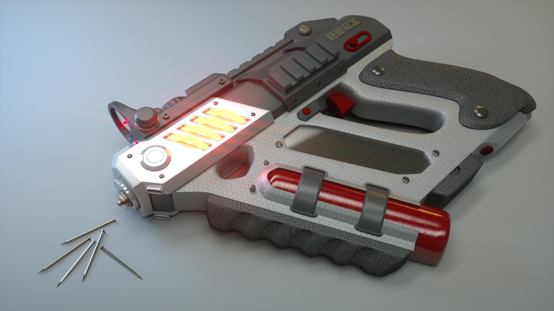 Self-Defense Electromagnetic Nailgun 3d art