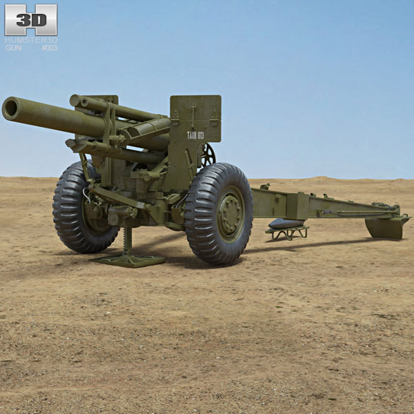 M114 155 mm Howitzer 3D model