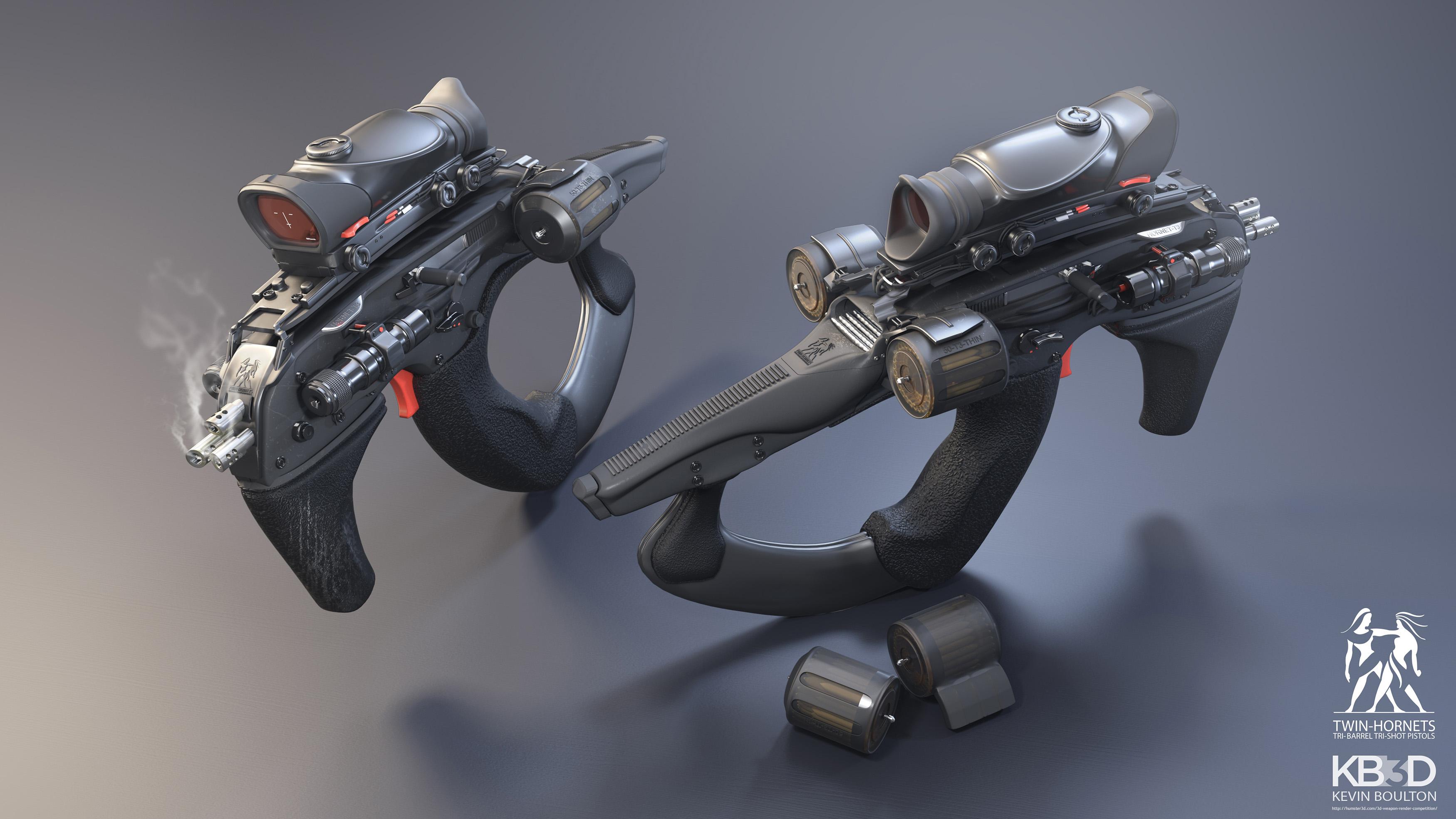 Twin Tri-Shot Hornet Pistols 3d art