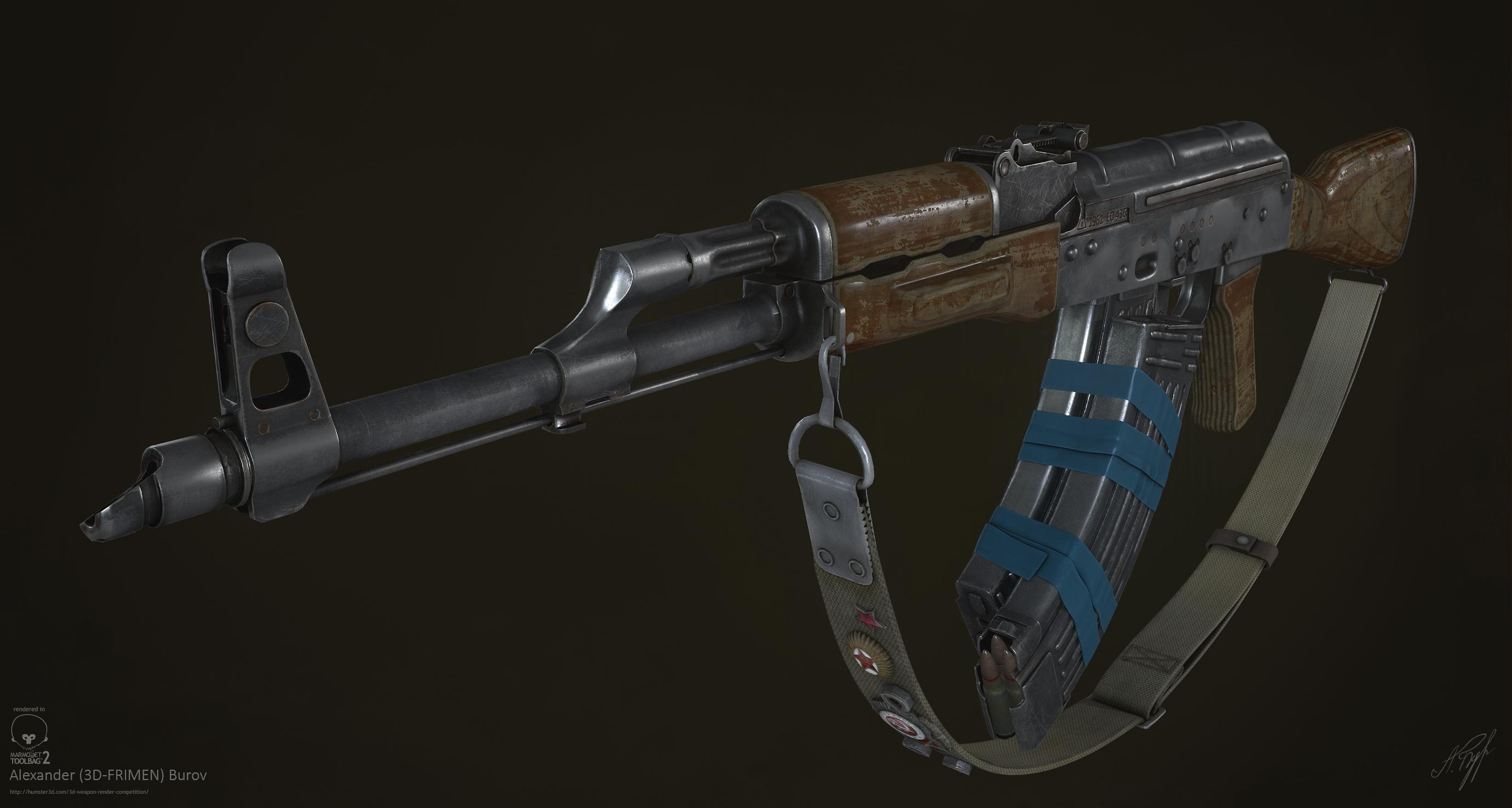 Avtomat Kalashnikova Modernizirovanniy 3d art