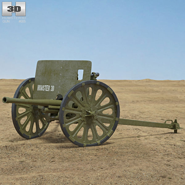 Type 1 37 mm Anti-Tank Gun 3D model
