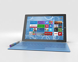 3D model of Microsoft Surface Pro 3 Cyan Cover