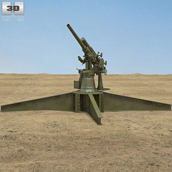 Type 3 80 mm Anti-aircraft Gun 3D model