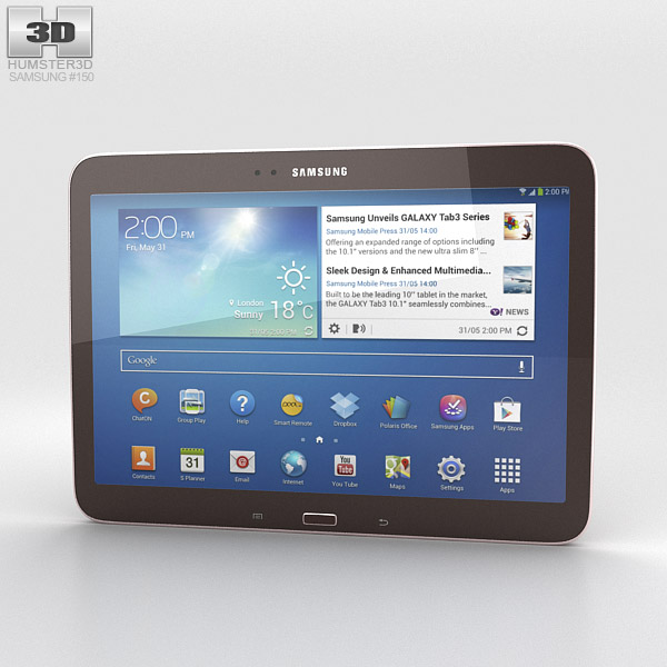 Samsung Galaxy Tab 3 10.1-inch Gold Brown 3d model